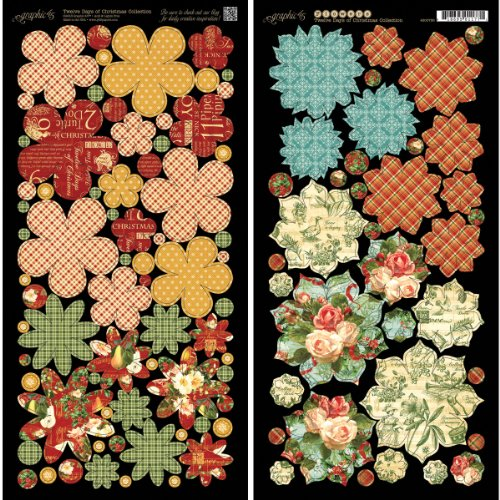 - Graphic 45 12 Days of Christmas Flowers Card Stock Sheets