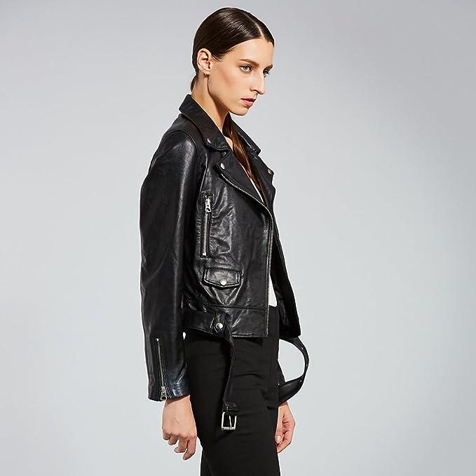 Amazon.com: Anweer Womens Genuine Lambskin Leather Lapel Motorcycle Jacket (S): Automotive