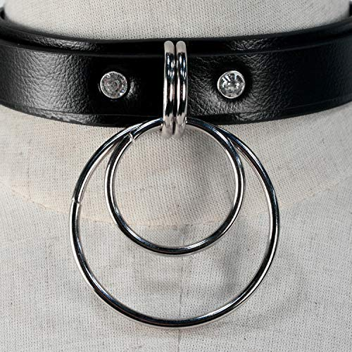 18423aae3470d HOMELEX Black 90s Gothic Metal O-Ring Leather Collar Choker Necklace ...