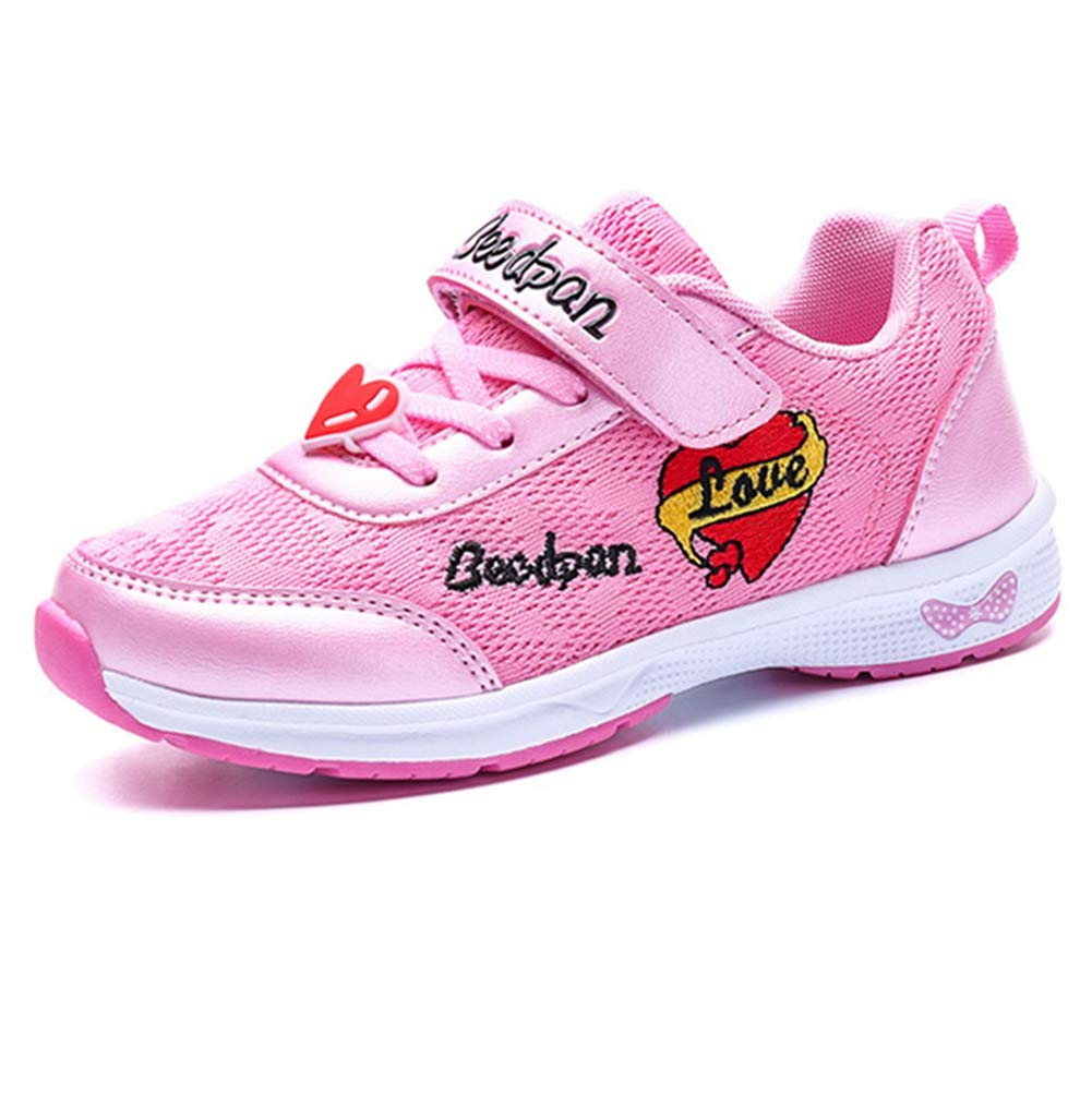 LGXH Girls Breathable Outdoor Walking Tennis Running Shoes Cozy Kids Love Slip-On Athletic Sneakers Pink Size 11 M US Little Kid