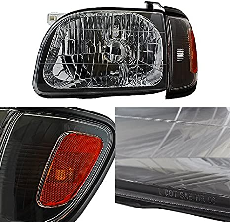 For Black 01-04 Toyota Tacoma Pickup Truck Headlights Front Lamps Corner Signal Lights 4 Pieces Set