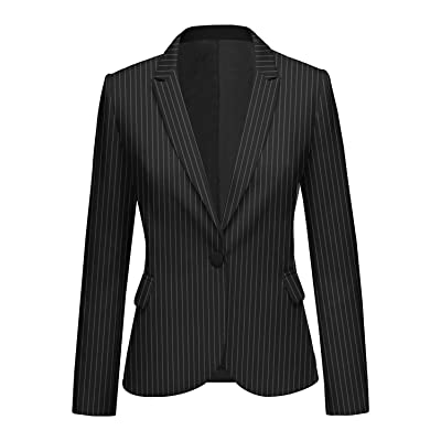 ACKKIA Women's Striped Business Casual Notched Lapel Pocket Button Work Office Blazer Jacket Suit at Women's Clothing store