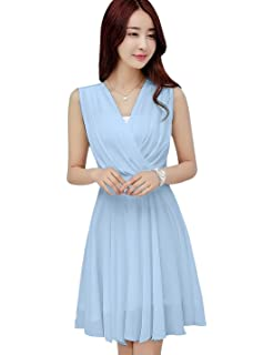 da8dcd9946f5 Tanming Women's Sleeveless V-Neck Knee Length Tank Chiffon Dress with Belt