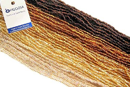 Czech 6/0 Glass Seed Beads - Gold Mix Silver Lined (5 X 6-string Hanks) Preciosa Jablonex