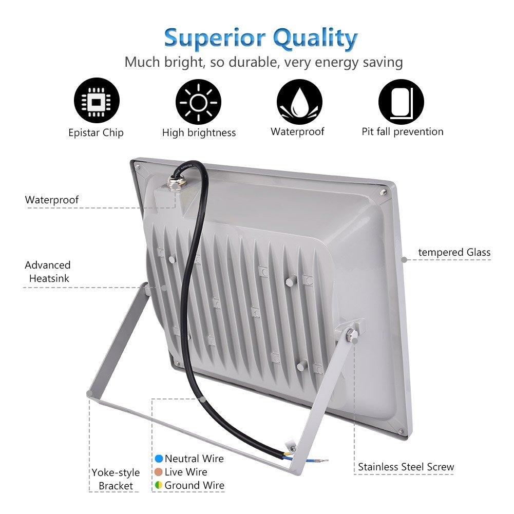 Foco proyector LED 20W/30W/50W/100W/150W/200W/300W/500W/800W para exteriores, 1000LM-56000LM, Blanco frio 6000-6500K resistente al agua IP65, luz amplia, ...