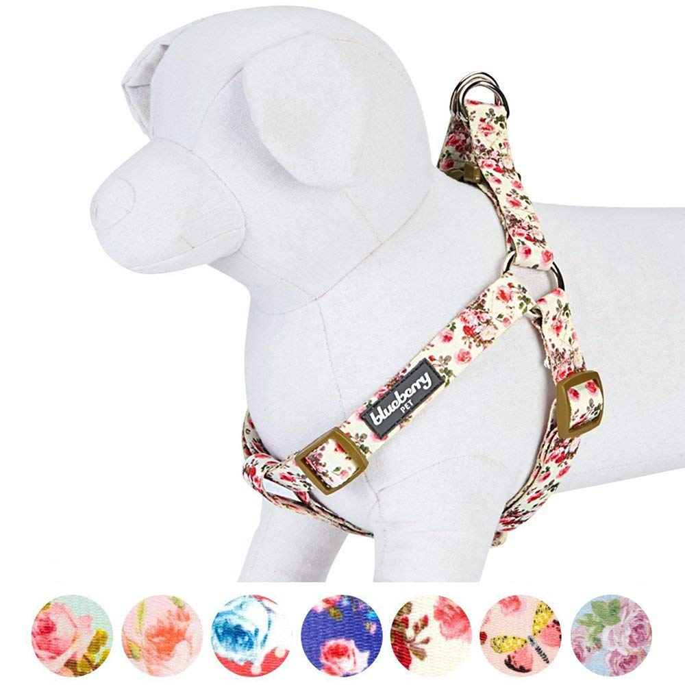 Blueberry Pet Step-in Spring Scent Inspired Pink Rose Print Ivory Dog Harness, Chest Girth 16.5'' - 21.5'', Small, Adjustable Harnesses for Dogs