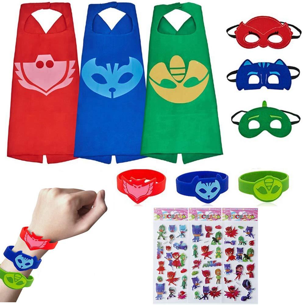 Kids Masks Capes Superhero Costume Bracelets Dress up Birthday Party Supplies for Catboy Owlette Gekko Costume