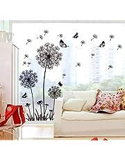 ufengke® Tarassaco Neri e Farfalle Che Volano Nel Vento Adesivi Murali, Camera da Letto Soggiorno Adesivi da Parete Removibili/Stickers Murali/Decorazione Murale