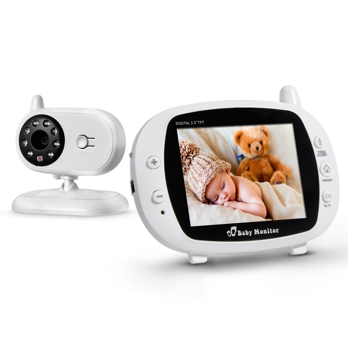 "FirstPower Video Baby Monitor with Camera, Infrared Night Vision, Two-Way Talk Back, 3.5"" LCD Screen, Temperature Detection, Lullabies, Long Range, Private Data Protection and High Capacity 3.5"" LCD Screen"