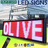 Olive LED Signs 3 Color (RWP) p20 15'' x 53'' - Storefront Message Board, Programmable Scrolling Display - Industrial Grade Business Tools