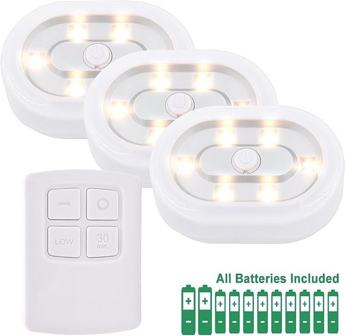 Lampe Veilleuse de Nuit de Placard a LED avec Telecommande Sans Fil a Pile Blanc Chaud 3000K, Fonctions Dimmable et Minuteur, 3 Lampes et 1
