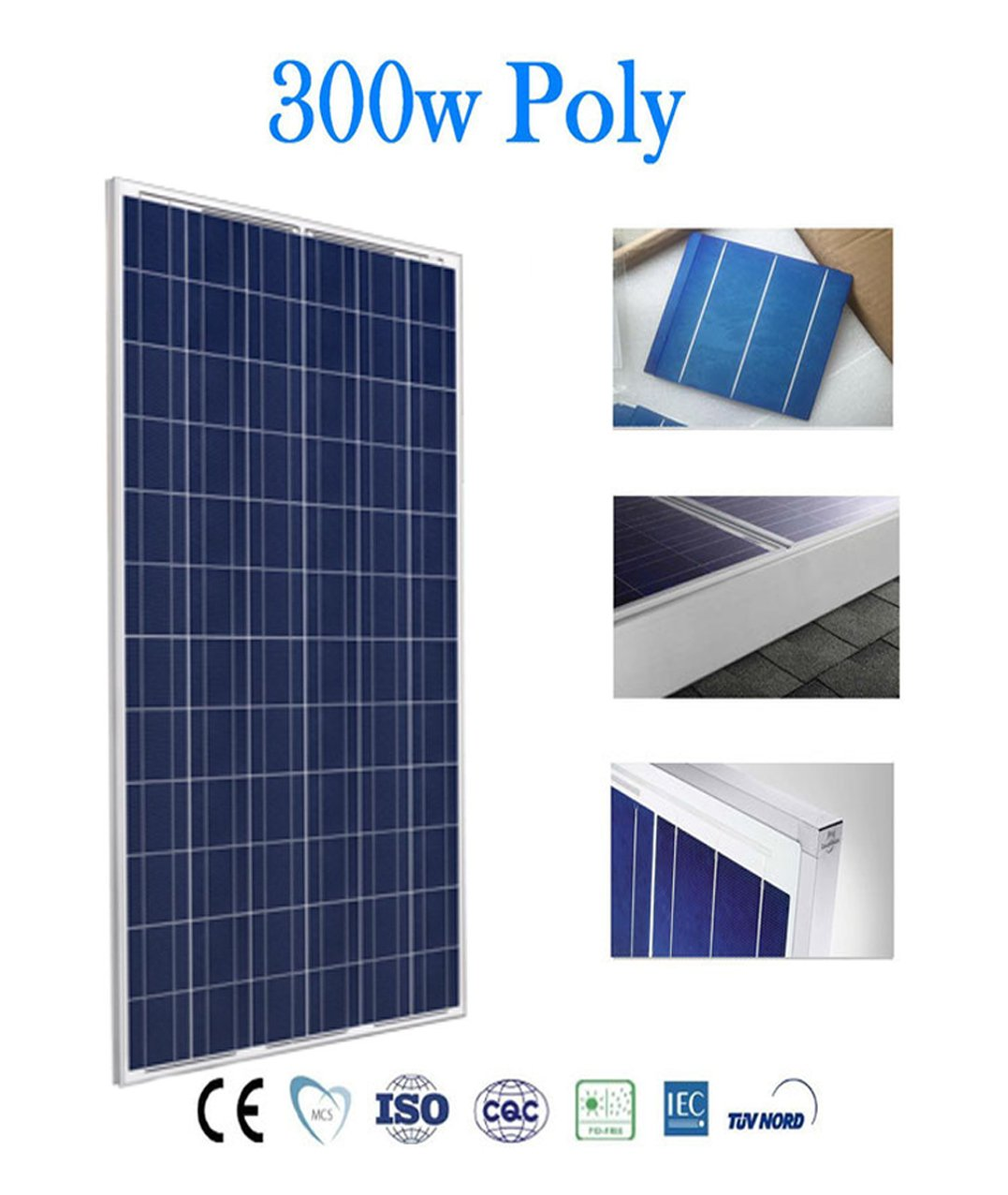 300W 48V Solar panels: 150W 250W Dimensiones :1480 * 640 * 40 mm 24V 330W polycrystalline solar plaque 12V