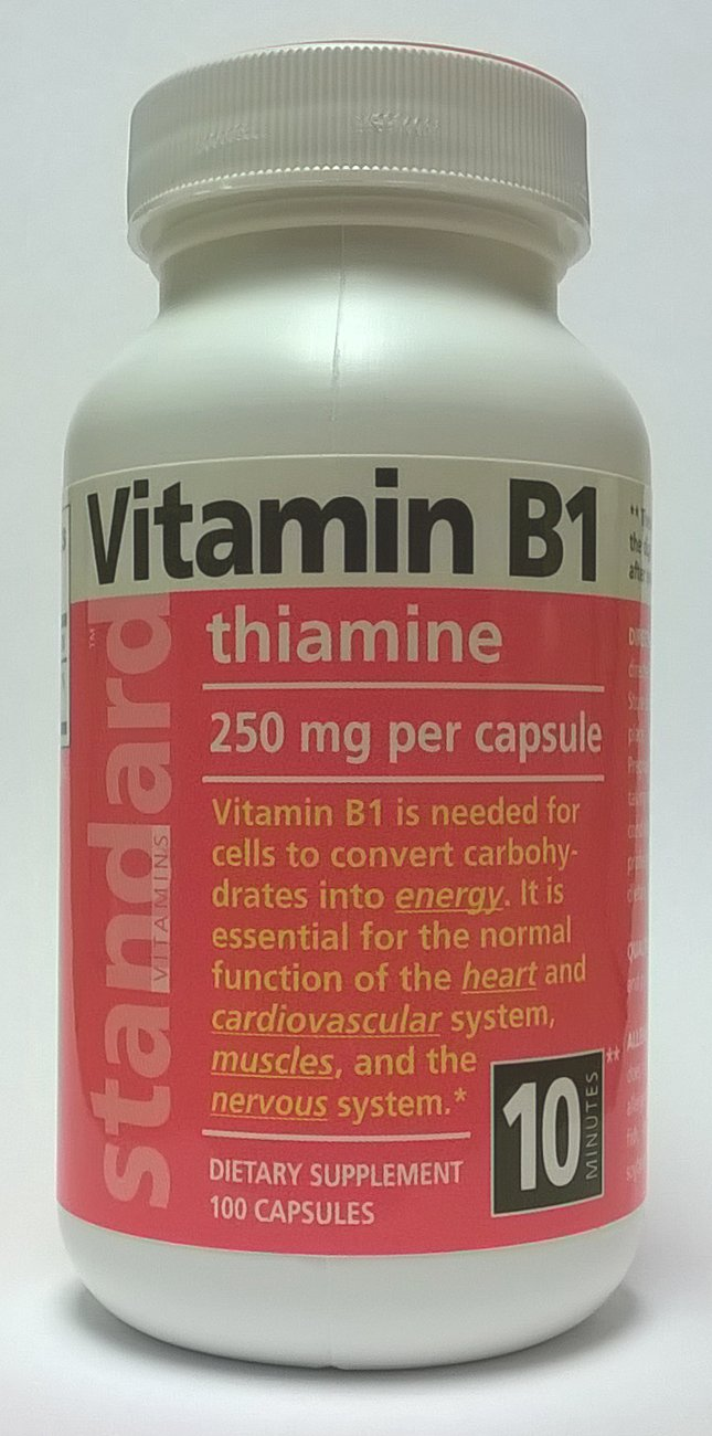 Standard Vitamins Vitamin B1 250mg 100 Capsules by Standard Vitamins / Nutrina