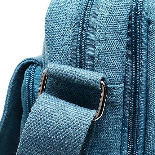 Eshow Bolsos de Bandolera para Hombres Tela Bolsa de Mensajero Lona Bolso de Hombro Bolso Hombre Messenger para Portátiles Azul