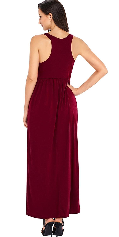 3fcb11e546 chouyatou Women s Casual Sleeveless Fit-Flare Racerback Maxi Dress Pockets  at Amazon Women s Clothing store