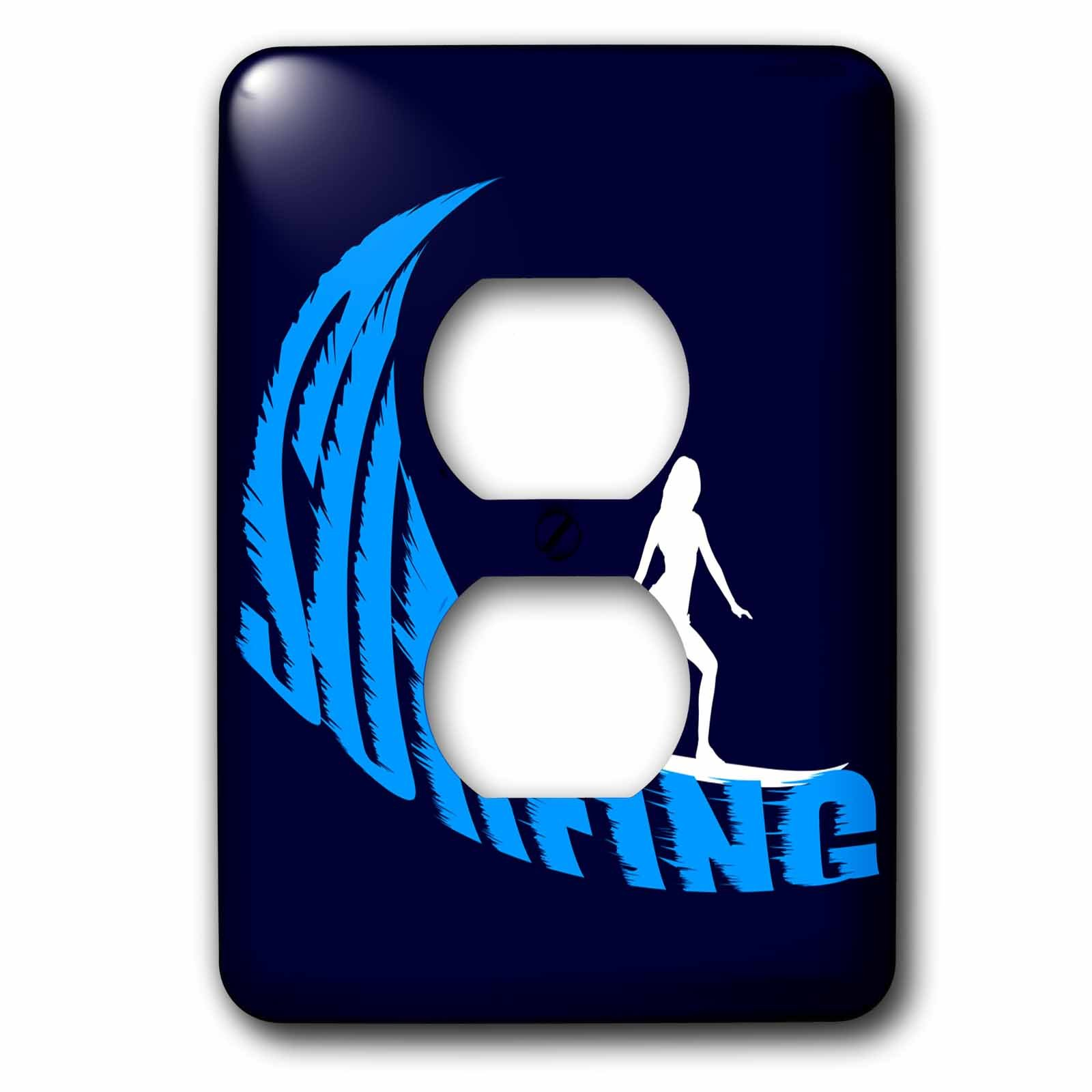 3dRose Alexis Design - Beach, Sea, Surf - Woman surfer, blue wave, text surfing, dark navy background - Light Switch Covers - 2 plug outlet cover (lsp_271760_6)