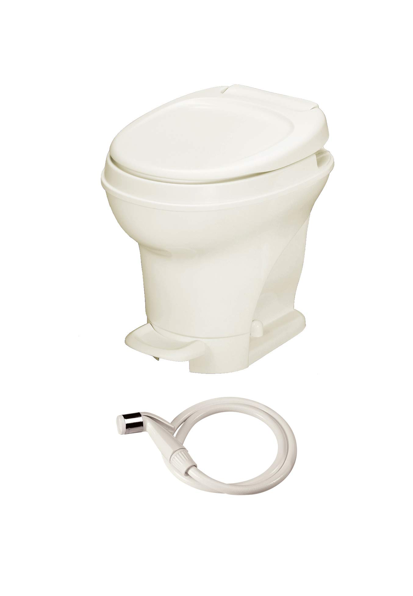 Thetford Parchment Aqua-Magic V RV Toilet-High Profile Color-Hand Sprayer-Pedal Flush 31680 by Thetford