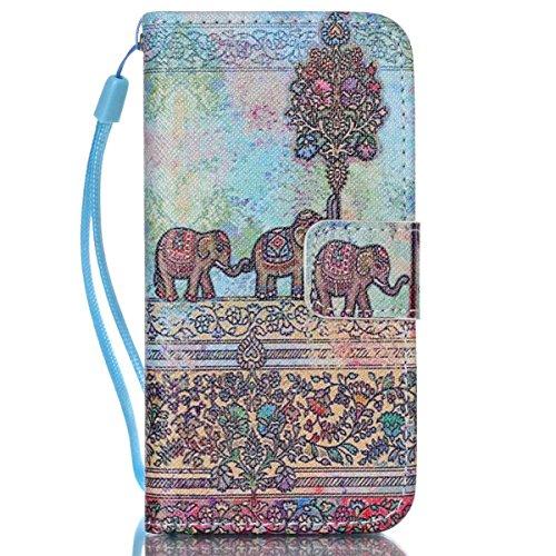 iPhone 5C Coque , Apple iPhone 5C Coque Lifetrut® [ Bleu Gris Totem Elephant ] [Wallet Fonction] [stand Feature] Magnetic snap Wallet Wallet Prime Flip Coque Etui pour Apple iPhone 5C