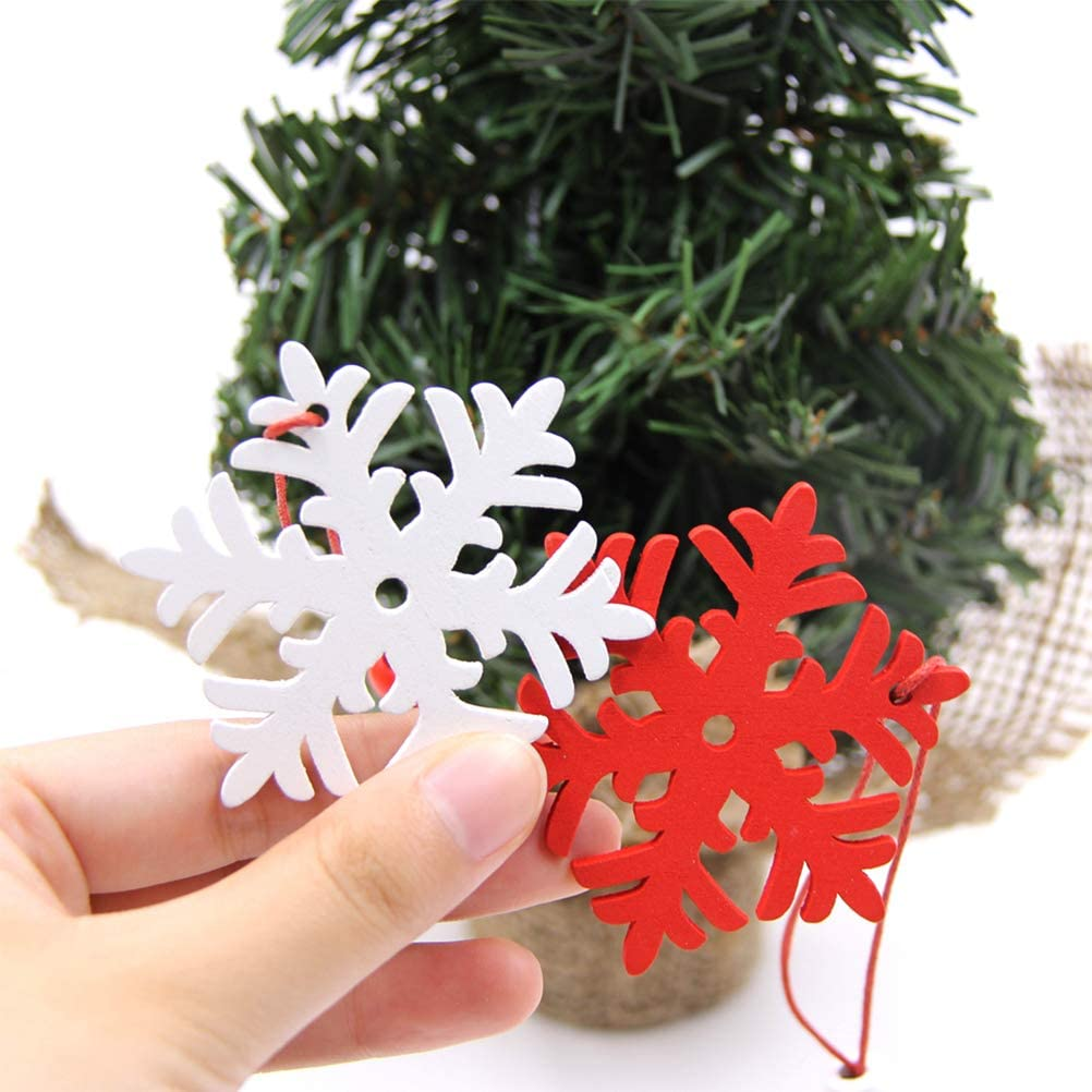JiuRong 6Pcs Creative Wooden Snowflakes Christmas Tree Hanging Ornaments Party Accessories Crafts Snowflake Shaped Christmas Tree Pendants Home Decoration