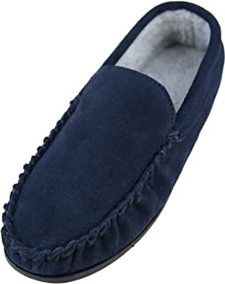 c1c83c7981d7a Mens Gents Real Genuine Suede Leather Casual Navy Moccasin Slippers with  Warm Comfortable Fleece Lining and