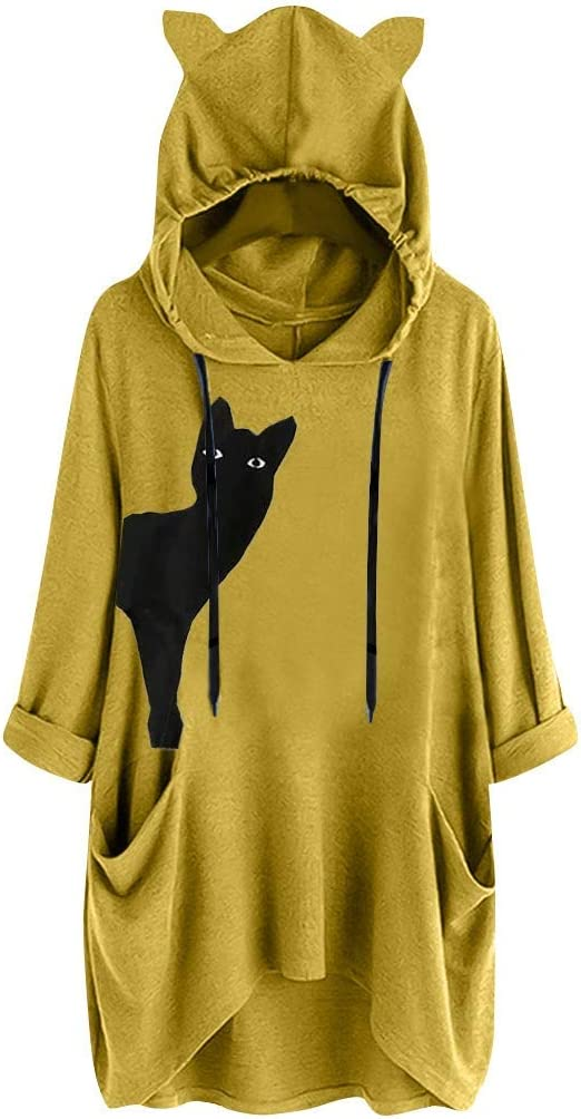 Misaky Hoodie with Cat Ears Solid Color Plush Casual Button Pocket Long Sleeve Hood Tops Outwear Coat