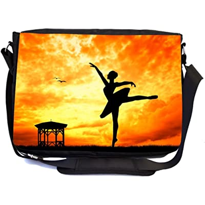 Rikki Knight Dancer Silhouette on Orange Sunset Design Multifunction Messenger Bag - School Bag - Laptop Bag - with padded insert for School or Work - includes Pencil Case