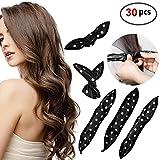 30pcs Hair Rollers - HailiCare Foam Hair Roller for Hair DIY - Flexible Soft Pillow Curlers - No Heat for Women & Kids (Black)