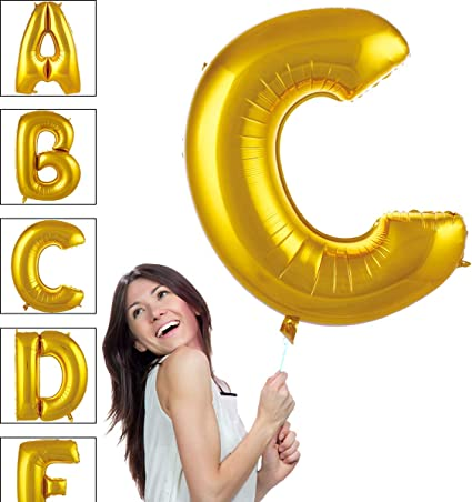 40 Inch Giant Jumbo Foil Mylar Alphabet Balloons Premium Quality for Helium Floating Party Decoration Photo Shot Matte Gold Letter A