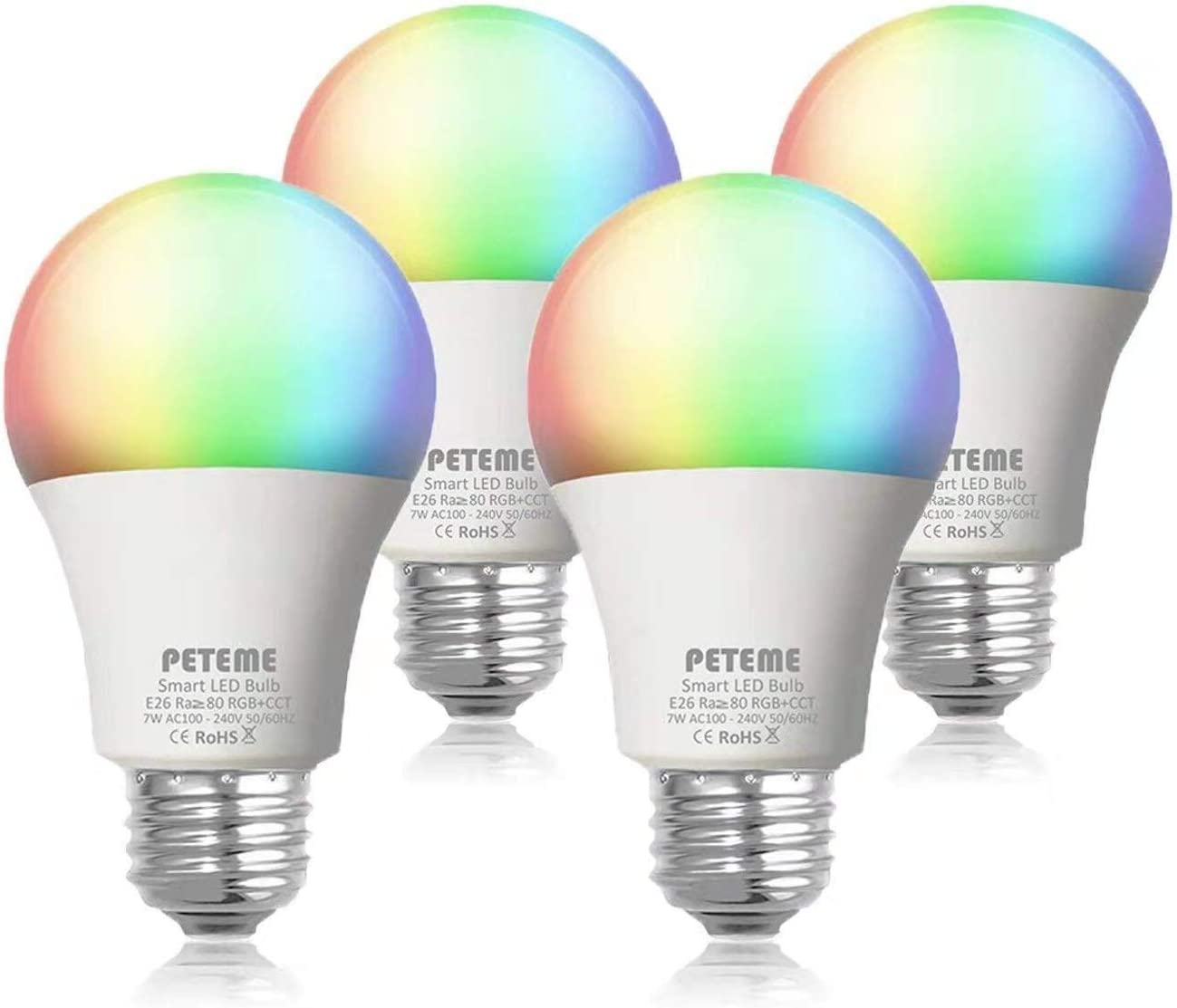 Peteme Alexa Smart Light Bulb 2.4G not 5G , RGB Color Changing LED WiFi Bulb, Work with Alexa, Siri, Echo, Google Home No Hub Required , E26 A19 60W Equivalent 4 Pack