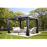MERIDIEN 10'x12' – Charcoal (#77) Hard Top Sun Shelter, Aluminum Structure, 8mm Polycarbonate Roof, 2 Tracks, Mosquito Netting Included