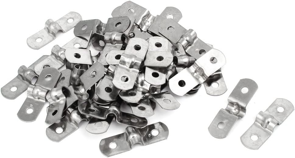 Rigid Pipe Strap 0.55 2 Holes Tube Straps 304 Stainless Steel Tension Tube Clip Clamp 10pcs uxcell 14mm