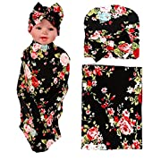 Newborn Floral Swaddle BQUBO Receiving Blanket with Hats Sleepsack Toddler Warm Baby Shower Gift(Pack 1)