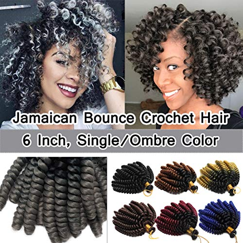 6 Inch Jamaican Bounce Crochet Hair Jumpy Wand Curl Short Curly Crochet Braids Synthetic Crochet Braiding Hair Extensions Ombre Twist Braid Hair Black to Grey ()