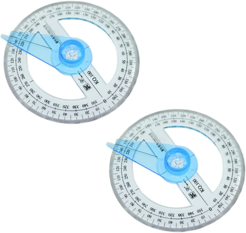 2pcs Plastic 360 Degree Protractor with Swing Arm : Office Products