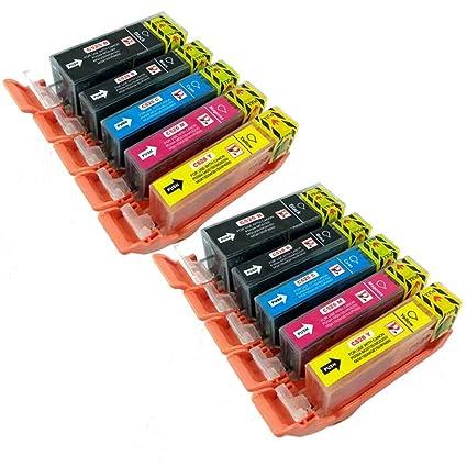 PerfectPrint - 10 compatibles Canon PGI-525 CLI-526 cartuchos de tinta para CANON Impresora PIXMA MG5250 MG6250 MG5350 MG6150 MG5200 IX6550 MG5150 ...