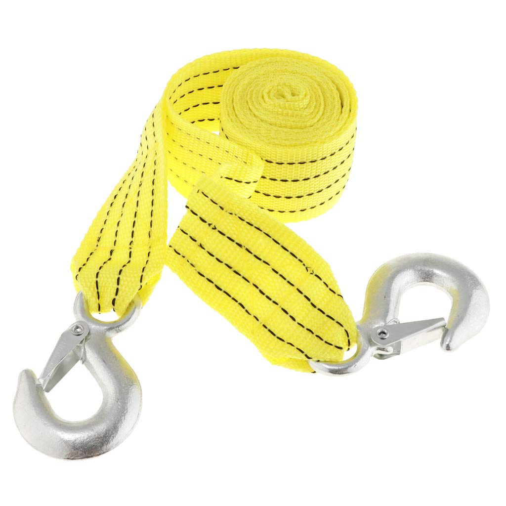 D DOLITY Heavy Duty Tow Winch Strap Rope Hook Car Boat Trailer 4 Tons Max Towing Yellow