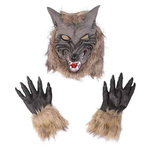 DESHOME Traje del Hombre Lobo de Halloween, Látex Lobo ...