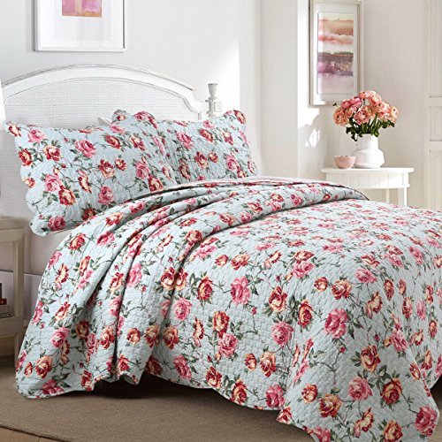 - [Queen's Rose Garden] 100% Hypoallergenic cotton 3 piece Floral Quilt Set Bedroom Quilt Bedding Queen Size Turq Red