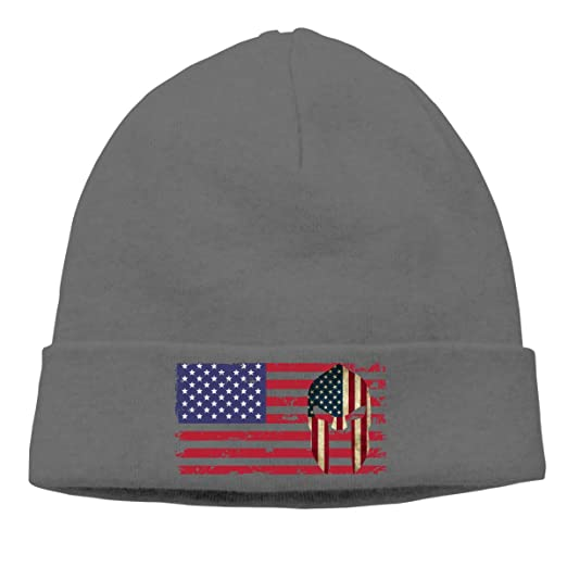 Amazon.com  American Flag Spartan Helmet US Flag Beanie Hat Knit Cap Winter  Unisex Skully Hat  Clothing 811229ce550