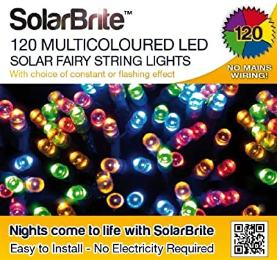 Solar Brite Solar Fairy Lights 120 Super Bright Multi Color LED Decorative String, Choice of Light Effect. Ideal for Trees, Gardens, Parties & More...