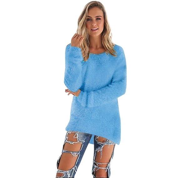 Camisa Larga Para Mujer Jersey Vestido Oversize Con Cuello Redondo Jumper Pulóver Blusa (S,