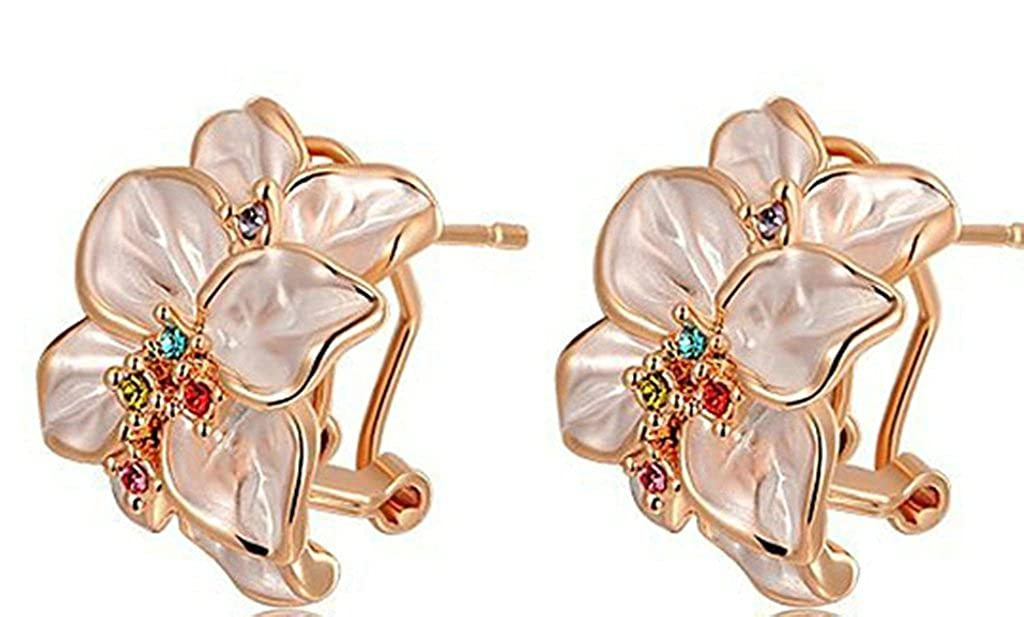 Gnzoe Womens Girls Stud Earrings Gold Plated Cubic Zirconia Rose Gold Flower Shape 1.72.2cm Antiallergy