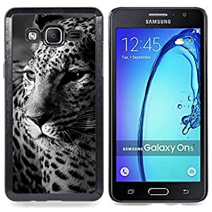 Leopard Spots Animal Fur White Black Caja protectora de pl??stico duro Dise?¡Àado King Case For Samsung Galaxy On5 SM-G550FY G550