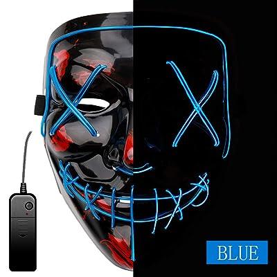 AnseeDirect Purge Mask Horror Máscara Halloween LED Máscaras para Fiestas del Festival: Juguetes y juegos