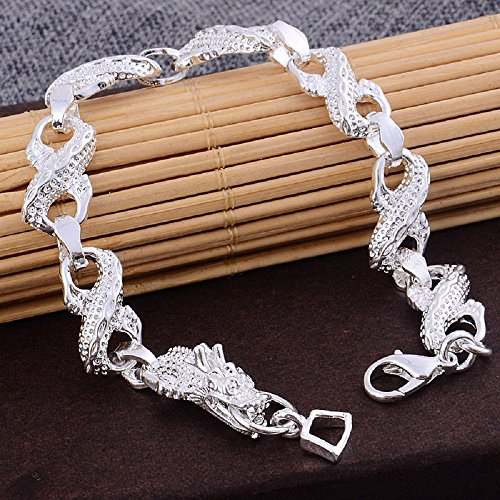 Pixel Jewelry 1985 - New Men 925 Silver Sterling Plated Dragon Carved Charm Chain Bracelets Jewelry