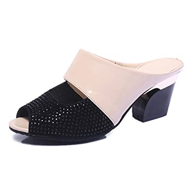 3548ab6c6c Amazon.com   Women Summer Leather Sandals Fashion Rhinestones Patchwork  Shoes Woman Sexy Peep Toe Chunky Heels Flip Flops   Mules & Clogs