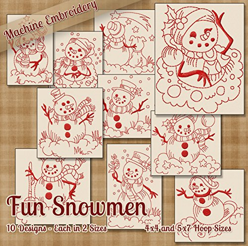 Fun Snowmen Redwork Embroidery Machine Designs on CD - 10 Beautiful Outline Style Patterns - 2 Sizes Each - Multiformat CD