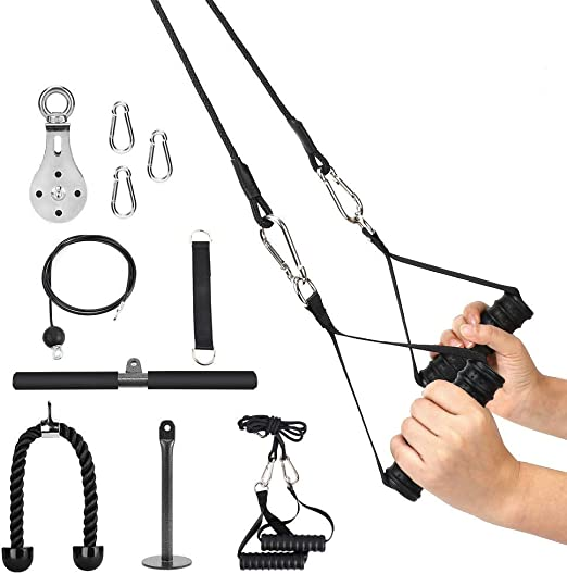 Elikliv Fitness 1.8M Cable Polea Sistema Bricolaje Carga Pasador Levantamiento Triceps Cuerda Máquina Entrenamiento con Barra Recta Y Manillas Tres en ...