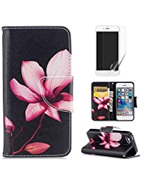 For iphone 5/5S iphone SE Case,OYIME [Colorful Painting] Elegant Pattern Design Bookstyle Leather Wallet Case with Screen Protector Kickstand Card Slots Function Holster Full Body Protection Bumper Magnetic Closure Flip Cover with Wrist Lanyard - Pink Lotus
