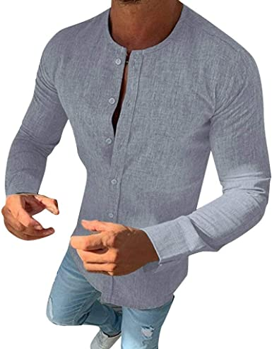 RYTEJFES Camisa De Manga Larga De Color Sólido con Cuello ...